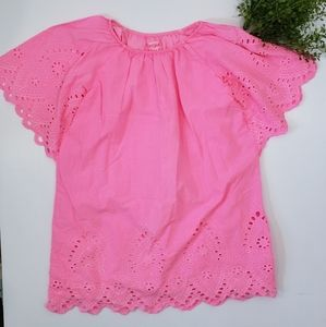 Ruffled Short Sleeve Lace Top
